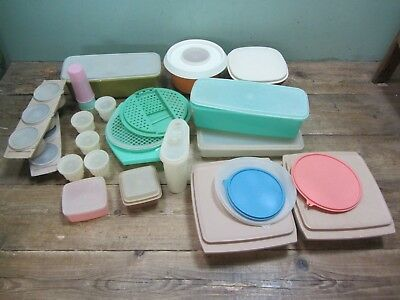 Vintage Tupperware Plastic Container Pots Storage Box Job Lot