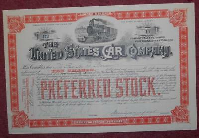 31359 USA 1894 United States Car Pref. Stock 10 shares certificate. Attractive