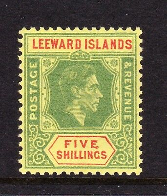 LEEWARD ISLANDS 1938-51 5/- WITH RETOUCHED TABLET CW 11bb MINT.
