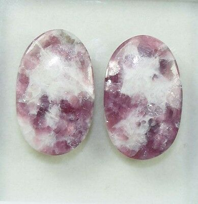 Pair  33.65 Cts. 100 % Natural Lepidolite Untreated  Oval Cab Loose Gemstones