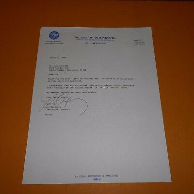 Lou Wangberg is an educator who was the 41st lieutenant Hand Signed 1982 Letter