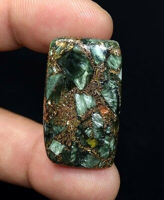 Beautiful  29.75 Cts. Natural Copper Seraphinite Cab For Sterling Silver Jewelry