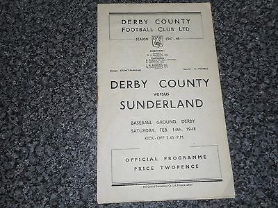 DERBY COUNTY  v  SUNDERLAND  1947/8  ~ FEBRUARY 14th    VINTAGE  ***FREE POST***