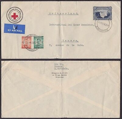 Rhodesia 1938 - Red Cross Air mail cover to Switzerland