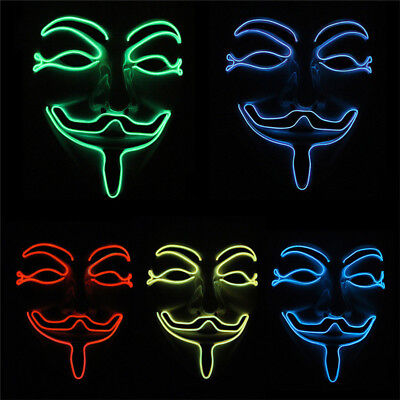 Halloween LED Growing In Dark Light Up Face Mask Luminous Cosplay Party Costume