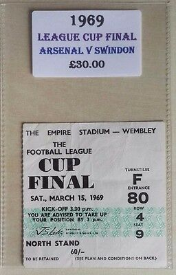 1969 LEAGUE CUP FINAL MATCH TICKET WEMBLEY STADIUM   ARSENAL vs. SWINDON (NTH-F)