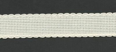Zweigart 1 Metre Ivory/Cream Aida Band 2.5cm/1 Inch Wide With a Scalloped Edging