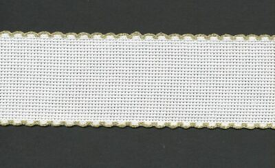 Zweigart 1 Metre White Aida Band 3cm/11/4 Inch White With a Gold Scalloped Edgin