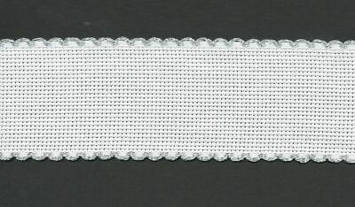 "7195//15 Zweigart 4/"" Blue Scalloped Edge Aida Band  1 metre White"