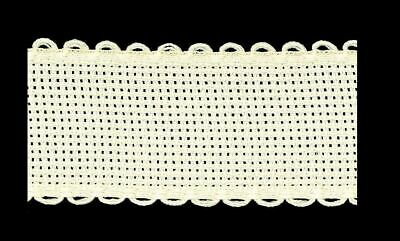 Zweigart 1 Metre Ivory/Cream Aida Band 3cm/11/4 Inch With a Scalloped Edging