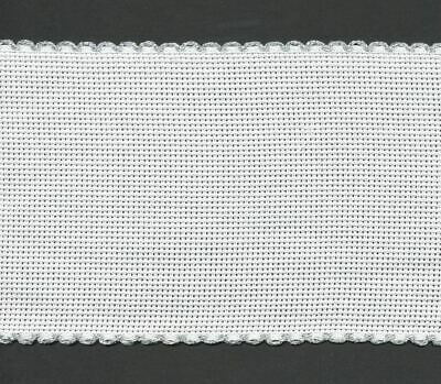 Zweigart 1 Metre White Aida Band 10cm/4 Inch White With a Silver Scalloped Edgin