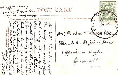 ARMY CAMP POSTMARK: EAST ANSTEY CAMP  Skeleton postmark dated 30th July 1905?.