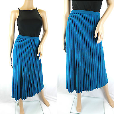 Vintage 1970s Knitted Woollen Midi Skirt Turquoise Teal Blue Unusual - Size 12
