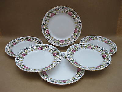 "6 Vintage Royal Stafford English China Tea Plates  ~ ""Caroline"" ~ 6 1/2"" ~ 17 cm"