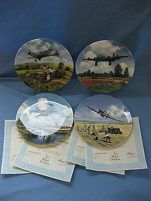 4 Royal Doulton 'Heroes Of The Sky' Collector Plates Limited Edition With Certs.