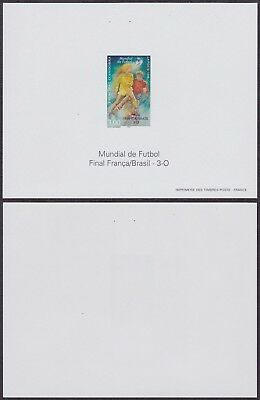 France 1998 - Imperforate Miniature Sheet - Football Soccer - Mint Stamps