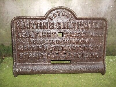Vintage cast iron Martins cultivator farm machinery sign/plaque/plate