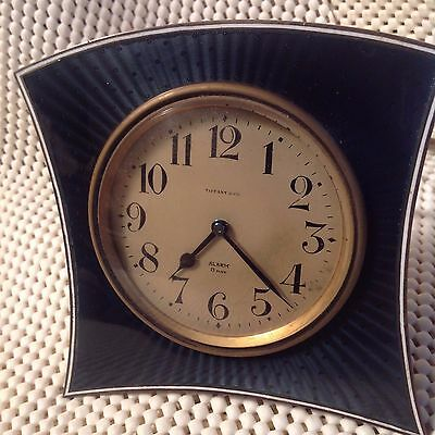 RARE! Antique Tiffany & Co Blue Guilloche &Sterling  Silver 8 day Clock