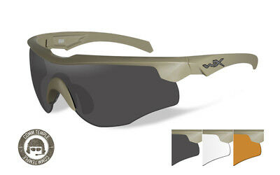 Wiley X Rogue COMM Tactical Glasses 3 Lens Grey/Clear/Rust Free P&P Item 2862