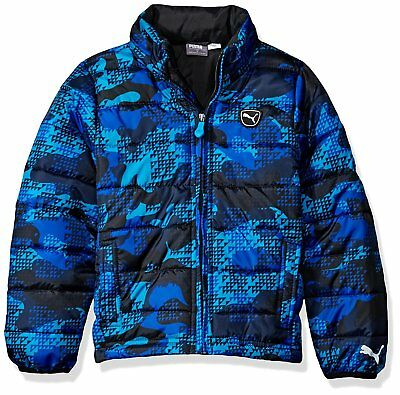 Puma Boys All Over Printed Camo Hooded Jacket Blue and Black MSRP $69.99 NEW