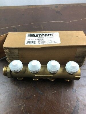 "Burnham Corp Manifold Valve 4  Circuit 1"" Brass for 1/2"" Pex Pipe 80649041 L332"