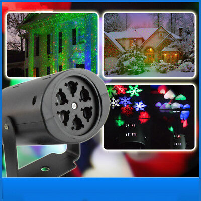 2 Pattern Outdoor Moving Snowflake LED Laser Light Projector Landscape Xmas Lamp