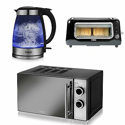 TOWER Dial Microwave 20L Glass See Through 1.7L Kettle 2 Slice Longslot Toaster