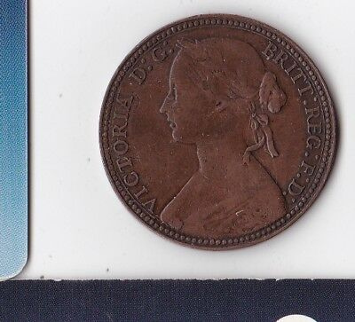 UK - Great Britain - England - HM Queen Victoria - One Penny 1860 beaded border