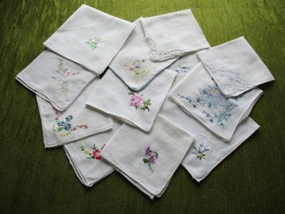 VINTAGE LADIES HANDKERCHIEFS with EMBROIDERY - COL. OF 12