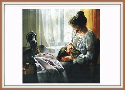 Woman Girl Seamstress & Cat RETRO SEWING MACHINE Art Belarusian Postcard modern