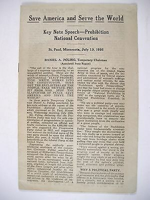 1916 Prohibition National Convention Keynote Speech