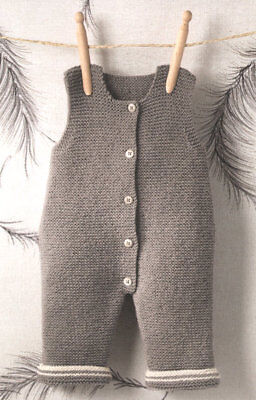 Baby Dungarees- Easy Beginner  0 - 3=6 Months 4 ply Knitting Pattern