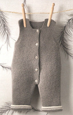 Baby Dungarees- Easy Beginner  0 - 6 Months 4 ply Knitting Pattern