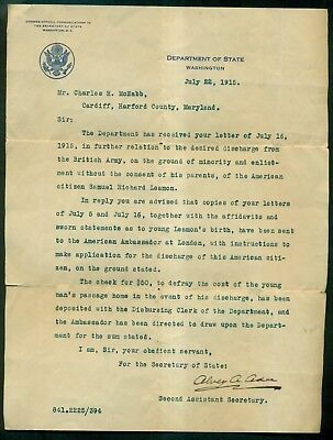 1915 Alvey A. Adee Second Assistant Secretary of State Signed State Dept. Letter
