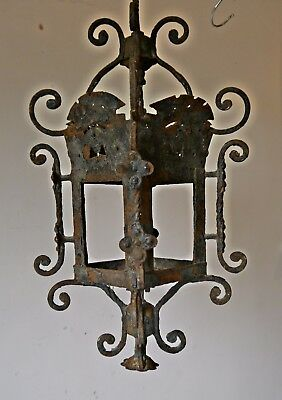 Antique Victorian Metal Outdoor Porch Lantern Aged Wrought Iron Light Lamp
