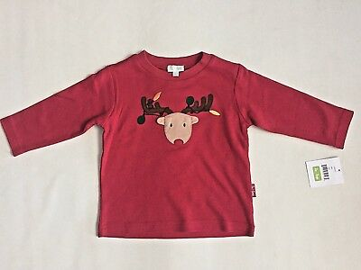 NWT Le Top Baby Boys Cotton Shirt Holiday Christmas Reindeer Red Sz 12 Month, 2T