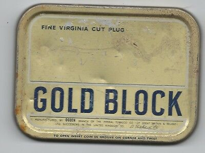 Gold Block tobacco tin (empty)