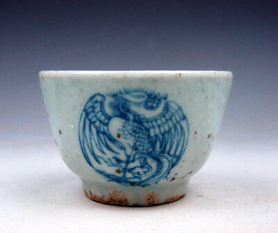 Antique Blue&White Porcelain Dancing Phoenix Peacocks Hand Painted Cup #10191705