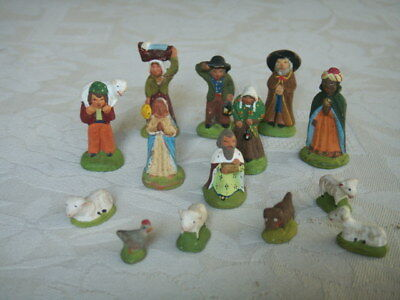 lot 14 mini santons creche noel collection decoration escoffier?? ou carbonel???