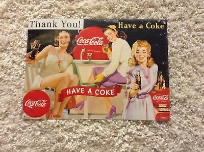 3 Lovely Ladies Coca Cola Tin Sign