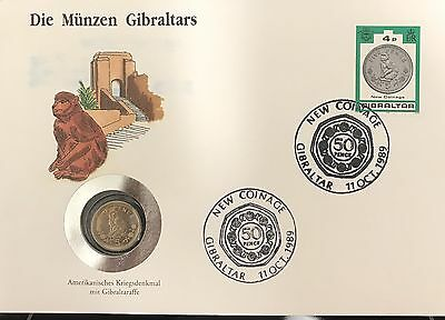 2000 GIBRALTAR 10 Pence coin - 11th Oct 1999 First Day Issue BUC Packed