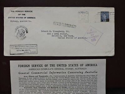 1942 Australia Us Consular +2 Wwii Censor +Letter +Used Stamps ! +2 Consulate Hs