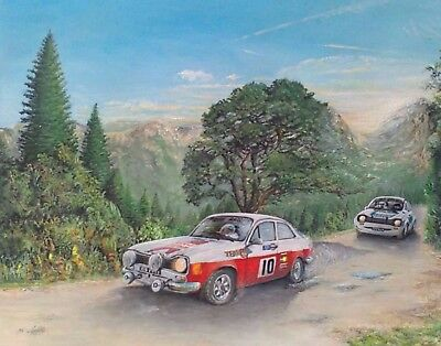 wrc ford escort rs oil painting