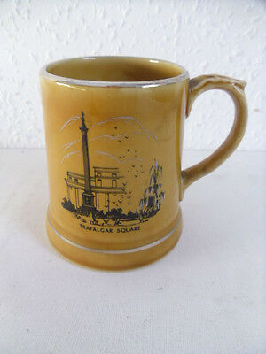 Vintage Wade Ireland Trafalgar Square London Ceramic Mug.Brown With Silver Trim