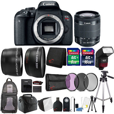 Canon EOS Rebel T7i 24.2MP DSLR Camera + 18-55mm Lens , TTL Flash & Accessories