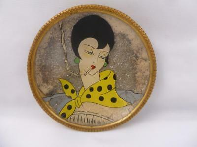 Rare Art Deco Glitter Painted Stylish Smoking Lady Picture Pin Tray c1920/30s