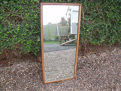 Antique Pine Framed Long Wall Hanging Mirror