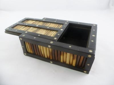 Antique 19th c Victorian Anglo Indian Porcupine Quill Game Counter Box c1890