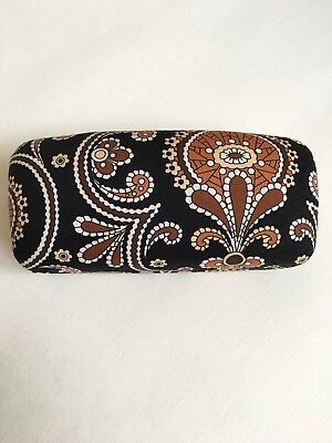 Vera Bradley Eyeglass Sunglass Case Caffe Brown Paisley Hard Shell New