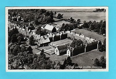 GIRTON COLLEGE, CAMBRIDGE. Aerial view. 1960 p/used real photo postcard.